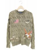 POLO RALPH LAUREN(ポロラルフローレン)の古着「ミリタリーワッペン刺繍ケーブルニットセーター」|ブラウン