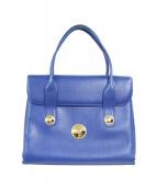 MCM(エムシーエム)の古着「ロゴ金具オールドハンドバッグ」|ブルー