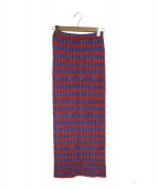 ISSEY MIYAKE(イッセイミヤケ)の古着「ボーダープリーツロングスカート」|ピンク×ブルー