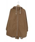 LOREAK(ロレーク)の古着「ナイロンジップアップフーデッドコート(ケープ)」 ベージュ