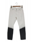 ()の古着「スリムフィットバイカラーデニムパンツ」|ホワイト×ブラック