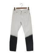 Maison Margiela 10(メゾンマルジェラ 10)の古着「スリムフィットバイカラーデニムパンツ」 ホワイト×ブラック