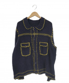 PHINGERIN(フィンガリン)の古着「ステッチデザインニットジャケット(カーディガン)」|ネイビー