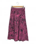 missoni(ミッソーニ)の古着「フラワーデザインフレアニットスカート」 ピンク×ブラック