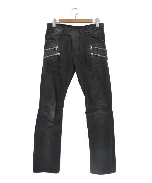 BALMAIN(バルマン)BALMAIN (バルマン) ジップデザインバイカーデニムパンツ グレー サイズ:Lの古着・服飾アイテム