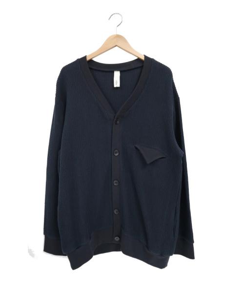 Edwina Horl(エドウィナ ホール)Edwina Horl (エドウィナホール) コットンビッグカーディガン ネイビー×ブラック サイズ:Mの古着・服飾アイテム