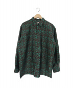 NEZU YOHIN TEN / 根津洋品店(ネヅヨウヒンテン/ネヅヨウヒンテン)の古着「シルクポリエステル総柄比翼シャツ」|ブラウン×グリーン