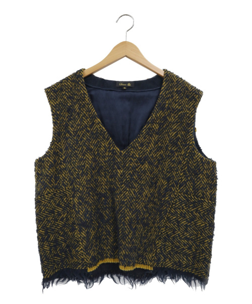 DRAWER(ドゥロワー)Drawer (ドゥロワー) カットオフウールジャガードベスト ネイビー×イエロー サイズ:36 6521-299-0390の古着・服飾アイテム