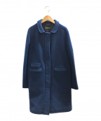 GLOVER ALL(グローバーオール)の古着「アンゴラ混ウールステンカラーコート」|ブルー