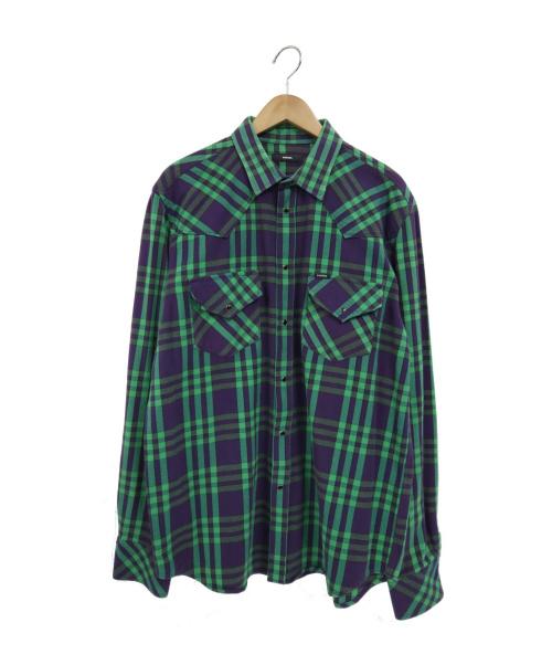 DIESEL(ディーゼル)DIESEL (ディーゼル) オーバーサイズチェックウエスタンシャツ グリーン×パープル サイズ:XLの古着・服飾アイテム