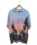 X-LARGE(エクストララージ)の古着「オイルペインティングS/Sオープンカラーシャツ」|ブルー×ピンク