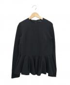 TSURU by MARIKO OIKAWA(ツルバイマリコオイカワ)の古着「ペプラムデザインL/Sカットソー(ブラウス)」 ブラック