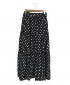 SACRA(サクラ)の古着「ポルカドットティアードデザインロングスカート」|ブラック×ホワイト