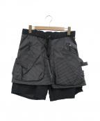 Comfy Outdoor Garment(コンフィーアウトドアガーメンツ)の古着「スペクトラリップキルティンヌグハーフパンツ」|ブラック×ホワイト