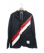 ()の古着「ラインデザイン金ボタンコットンテーラードジャケット」|ネイビー
