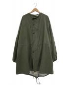 -(-)の古着「【古着】60sガスプロテクトノーカラーコート」 カーキ