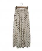 SACRA(サクラ)の古着「ポルカドットティアードロングスカート」|ホワイト×ブラック