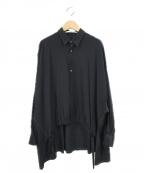 Ujoh(ウジョー)の古着「キュプラデシンドローコードシャツ」|ブラック