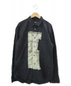 ()の古着「フロントデザインロングスリーブシャツ」|ブラック