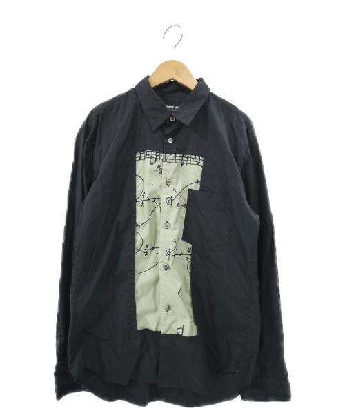COMME des GARCONS HOMME DEUX(コムデギャルソン オム ドゥ)COMME des GARCONS HOMME DEUX (コムデギャルソン オム ドゥ) フロントデザインロングスリーブシャツ ブラック サイズ:M DE-B030 AD2019 20SSの古着・服飾アイテム