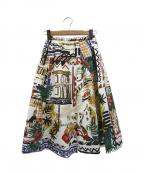 CHESTY(チェスティー)の古着「ヨーロピアンオリジナルプリントスカート」 ホワイト×ブラック