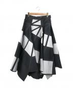 ISSEY MIYAKE()の古着「デザインスカート」 ブラック×ホワイト