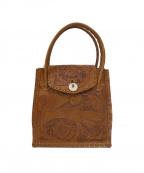 Carving Tribes()の古着「刺繍加工ハンドバッグ」|ベージュ