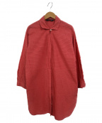 YACCO MARICARD(ヤッコマリカルド)の古着「プリーツデザインロングシャツ」|レッド