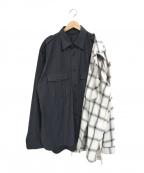 Maison MIHARA YASUHIRO(メゾン ミハラヤスヒロ)の古着「レフトドッキングシャツ」|ブラック×ホワイト