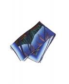 CASABLANCA(カサブランカ)の古着「Graphic-Print Silk Scarf Blue」|ネイビー