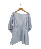 CELFORD(セルフォード)の古着「ボリュームスリーブアシメブラウス」 ブルー