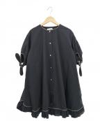 YORI(ヨリ)の古着「袖リボンチュニックブラウス」|ブラック