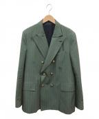 GABRIELE PASINI(ガブリアルパジーニ)の古着「ピークドラペル6Bダブルボタンテーラードジャケット」|グリーン