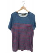 ()の古着「ウオッシュ加工ボーダーポケットTシャツ」|ネイビー×レッド