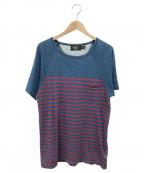 RRL()の古着「ウオッシュ加工ボーダーポケットTシャツ」 ネイビー×レッド