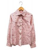 ()の古着「オーブデザインストライプシャツ」|ホワイト×レッド
