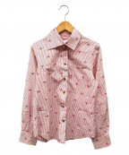 Vivienne Westwood RED LABEL()の古着「オーブデザインストライプシャツ」|ホワイト×レッド