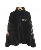 DIESEL()の古着「カオス刺繍ボアジャケット」|ブラック