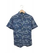 Denham(デンハム)の古着「リネン混アロハシャツ」 ネイビー