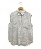 DES PRES(デプレ)の古着「ミドルリネンフレンチスリーブシャツ」|グレー