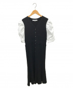 Rirandture(リランドチュール)の古着「フロント釦シャツスリーブニットワンピース」|ブラック×ホワイト