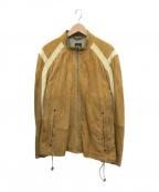 BOSS HUGO BOSS(ボス ヒューゴボス)の古着「ジップアップレザートラックジャケット」|ブラウン