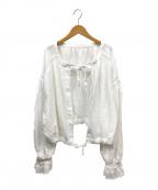 FRAMeWORK(フレームワーク)の古着「ヘビーリネンレース2WAYボレロブラウス」 ホワイト