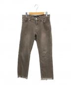 FRAMeWORK(フレームワーク)の古着「裾スリットクロップドデニムパンツ」 ブラウン