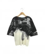 HOMME PLISSE ISSEY MIYAKE(オムプリッセイッセイミヤケ)の古着「総柄プリーツTシャツ」 ホワイト×ブラック