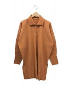 ()の古着「プリーツロングプルオーバーシャツ」|オレンジ
