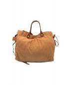 ()の古着「サイドリボンキャンバスレザーハンドバッグ」|ブラウン