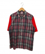 COMME des GARCONS HOMME(コムデギャルソン オム)の古着「スリーブ切替シャツ」 レッド×グリーン
