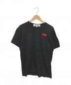 PLAY COMME des GARCONS(プレイ コムデギャルソン)の古着「ダブルハートワッペンTシャツ」|ブラック×レッド