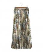 CLANE(クラネ)の古着「フラワープリーツスカート」|ベージュ